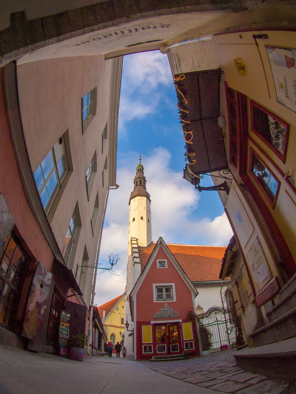 Architecture Building Exterior Built Structure City Day Fisheye Medieval Architecture MedievalTown No People Outdoors Postcard Saiakang Sky Street Streetviewphotography Tallinn Tallinn Old Town Tourism Travel Destinations Travel Photography Not Trademarked
