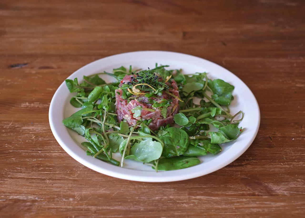 Salmon tartare with salad