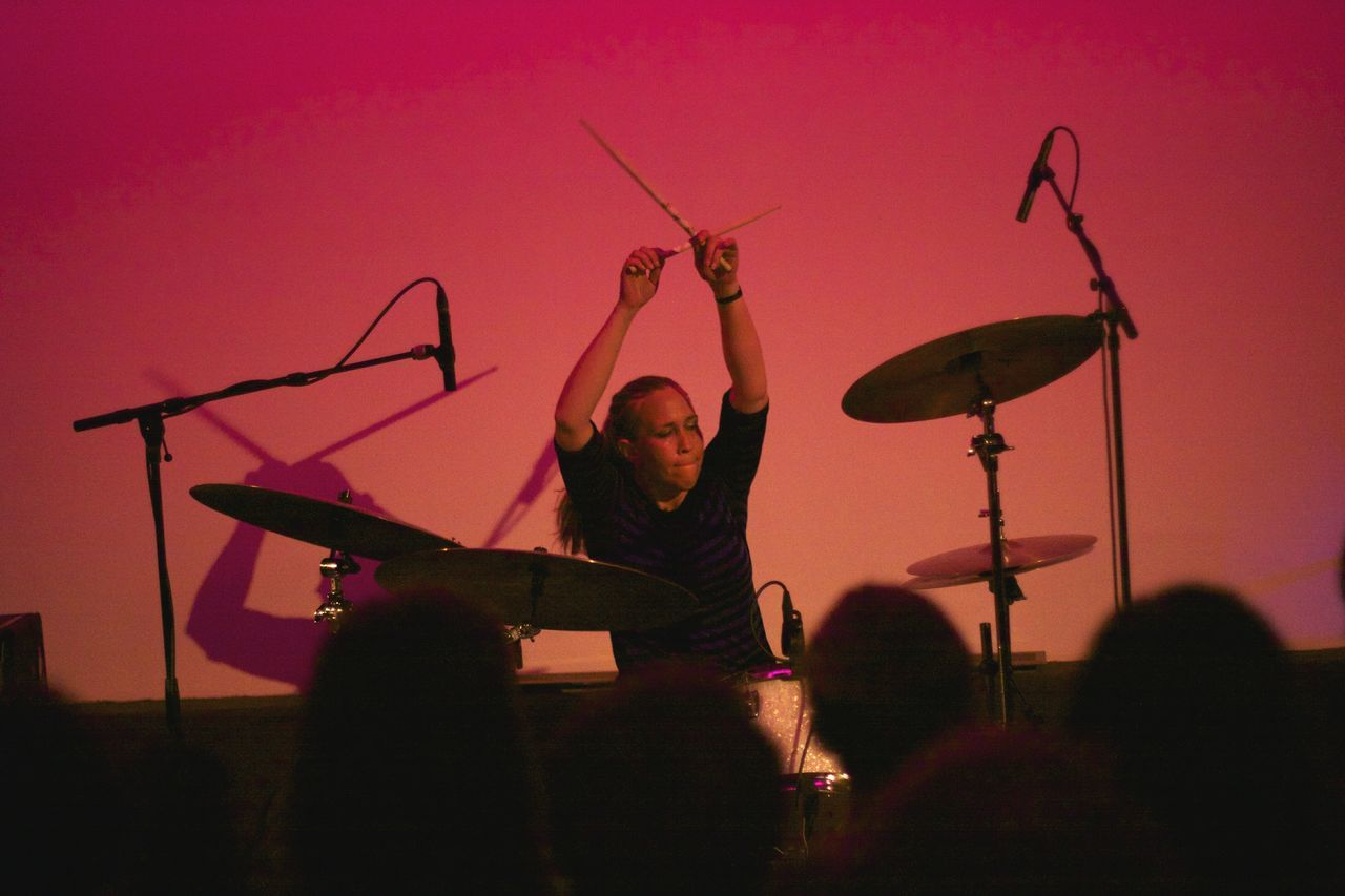Earth The Band Drummer Music Performance Silhouette One Person Musician Musical Instrument EyeEmNewHere Real People Arts Culture And Entertainment This Week On Eyeem Women Around The World Millennial Pink