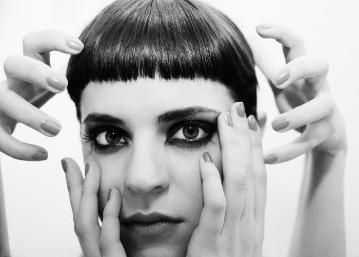 Mirror Mirror Abstract Beauty Big Eyes Blackandwhite Face Female Four Hands Girl Linas Was Here Makeup Model Portrait Short Black Hair