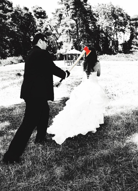 Wedding Photography Weddingphotography Axe Forest Murder After Wedding Couple Capture The Moment Love Fun Joke Varimpompi Parnitha Mountain Greece