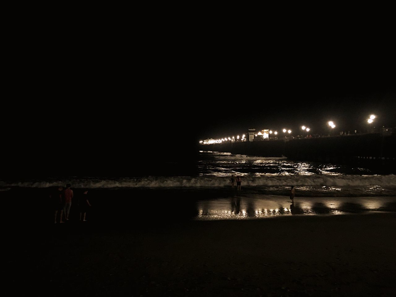 night, illuminated, water, beach, sea, outdoors, nature, no people