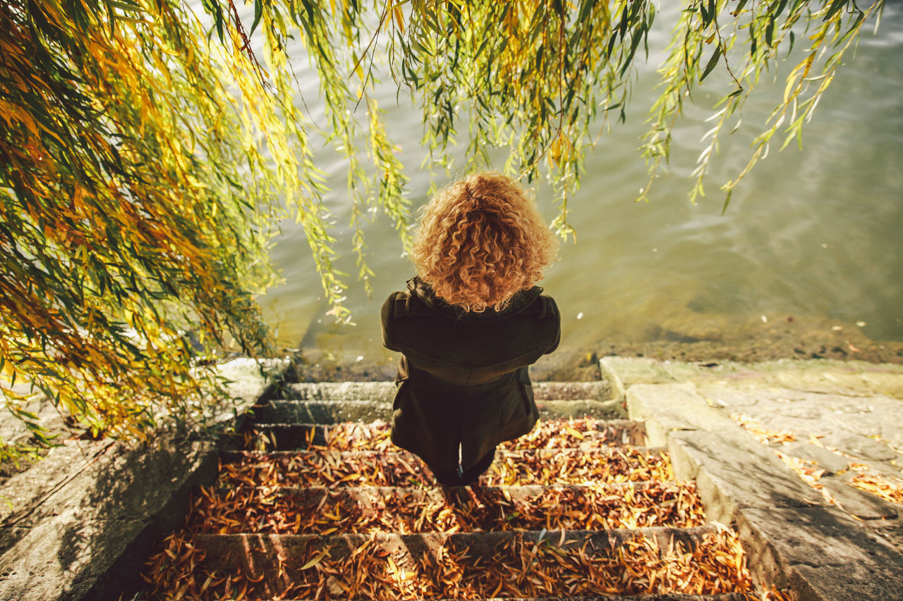 Autumn Blonde Casual Clothing Change Curly Day Full Length Girl Leaf Leisure Activity Lifestyles Nature Outdoors Seine Seine River Seine River Banks Steps Tranquility Tree View From Above Original Experiences A Bird's Eye View People And Places