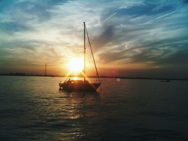 Sunset 't IJ Sailboat Evening Evening Sky Sun Low In The Sky Beautiful Sky River Canal Water