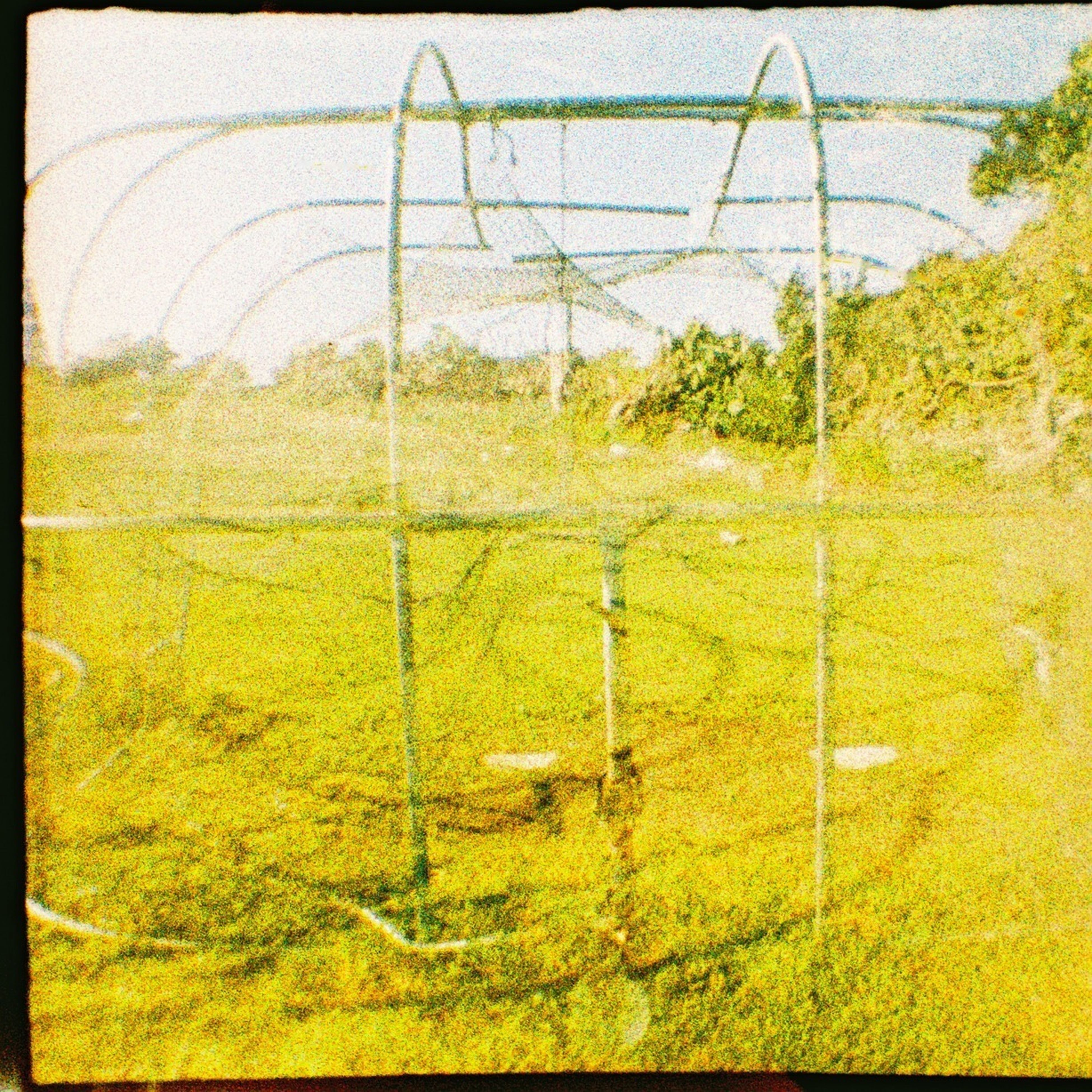 transfer print, field, yellow, fence, auto post production filter, growth, landscape, protection, grass, rural scene, tranquility, safety, agriculture, nature, green color, tranquil scene, day, no people, outdoors, farm