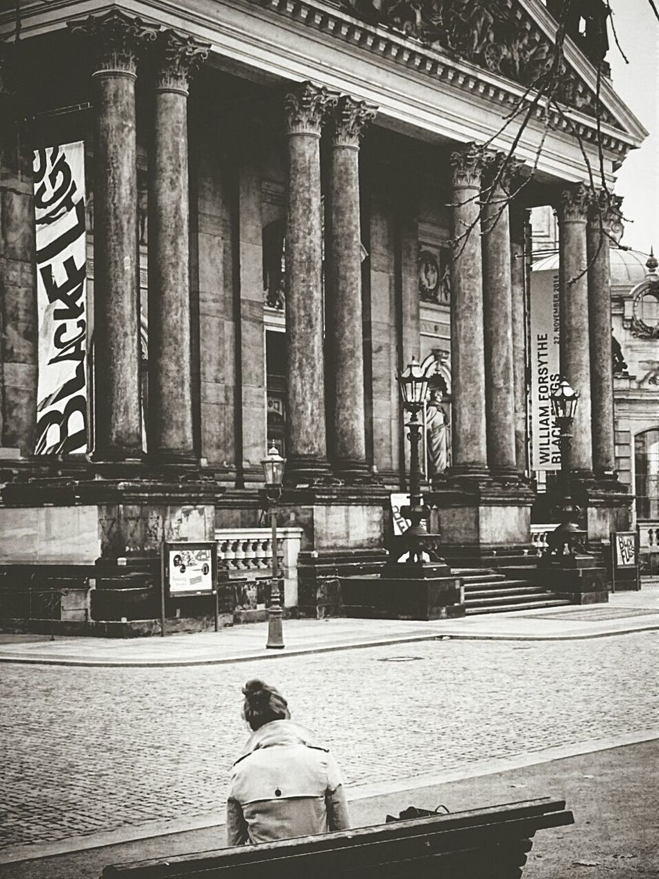 Authentic Moments Lost In The Moment Waiting Architecture Old Buildings Girl Waiting Grey Weather in Dresden