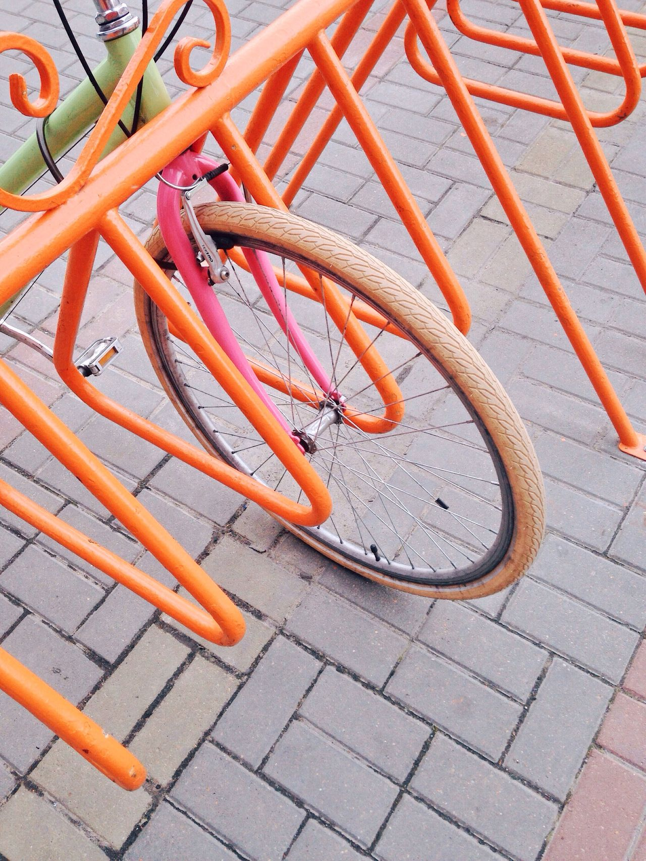 Colorful details Bicycle Wheel Orange Color Outdoors Transportation Mode Of Transport No People Bicycle Rack Travel
