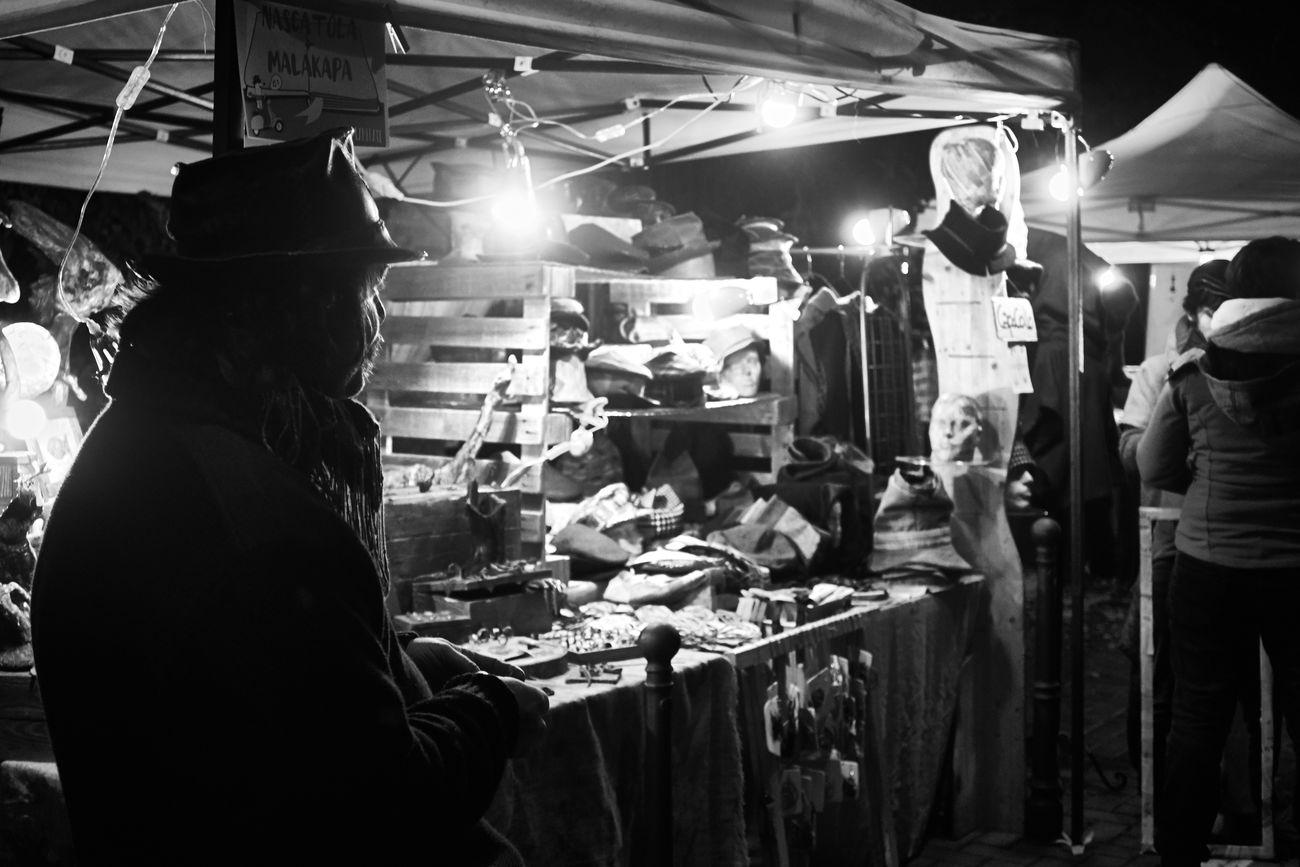 Embrace Urban Life Market Night Lights People Adults Only Market Crafts Blackandwhite Black And White Black & White Streetphoto_bw City Citylife Street Market Stall