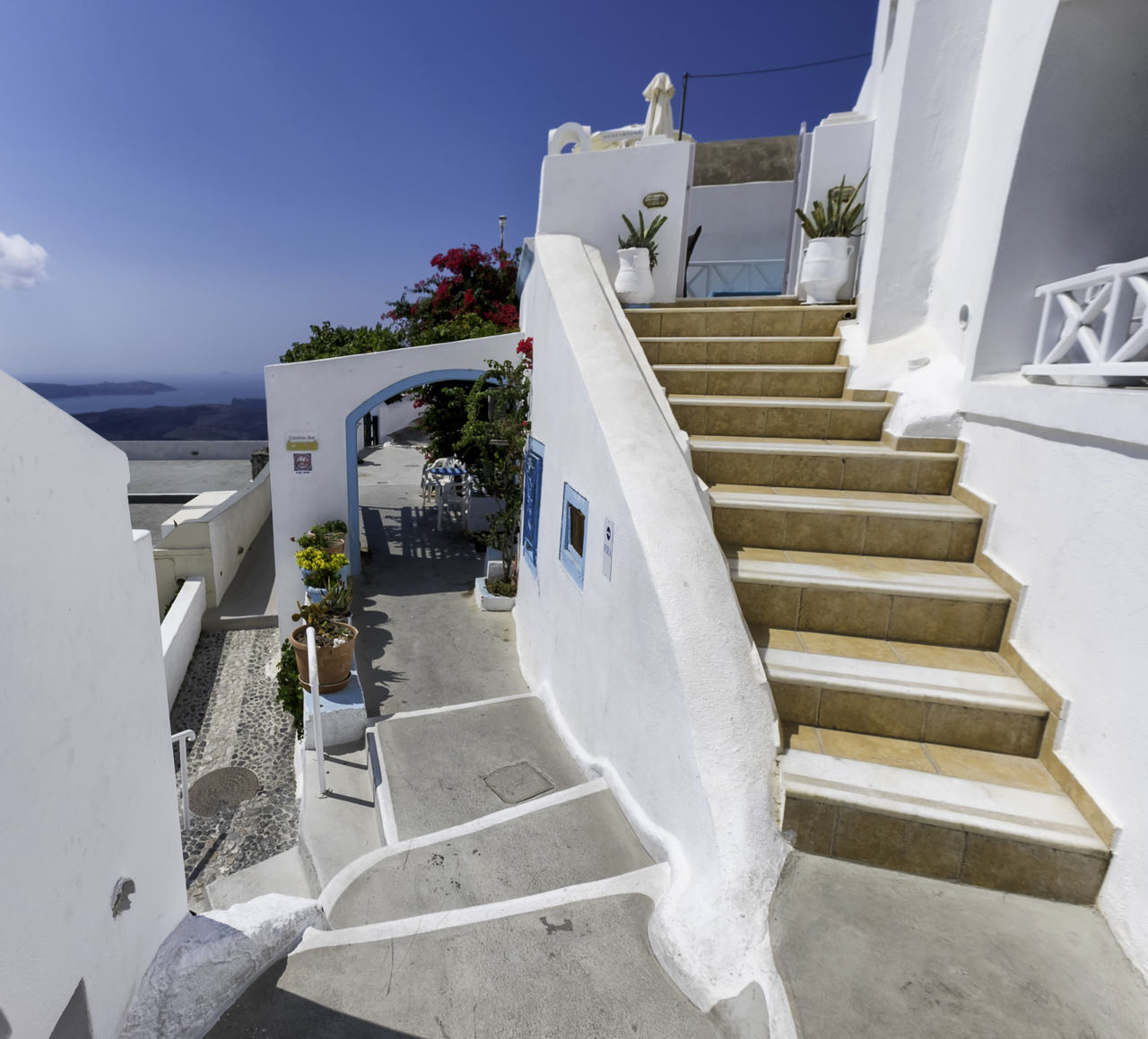 steps, staircase, steps and staircases, white color, whitewashed, built structure, architecture, railing, day, no people, outdoors, building exterior, sky