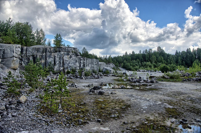 Italian quarry at Ruskeala, Karelia Beauty In Nature Cloudy Sky HDR HDR Collection Marble Nature Quarry Rock Stone Tree