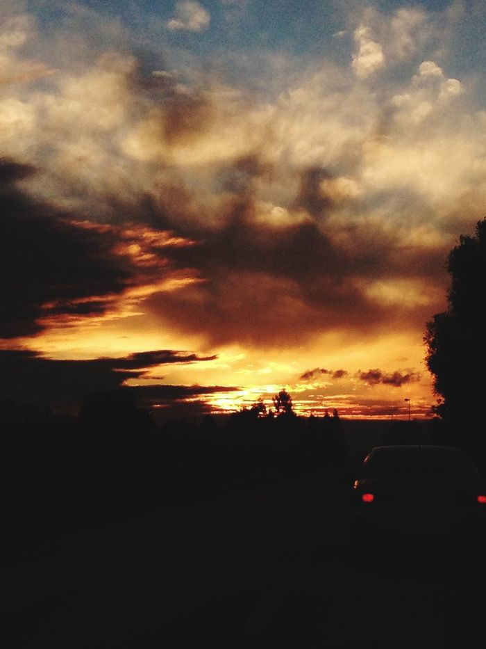 Sunset Car Sky Cloud - Sky Transportation Nature Beauty In Nature No People Silhouette Outdoors Scenics