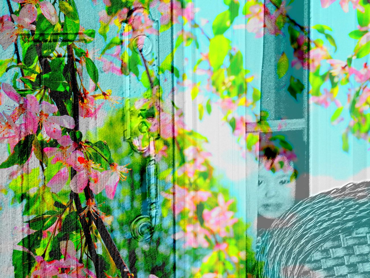 Collage Double Exposure Flowers Growth House Little Boy Nature Outdoors Pink Blossoms Superimpose Showcase April Lewisburg, Ohio