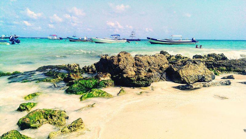 Boats in mexico Beach Sea Water Beauty In Nature Boats⛵️ Mexico Playadelcarmen Ocean Vacation Happy