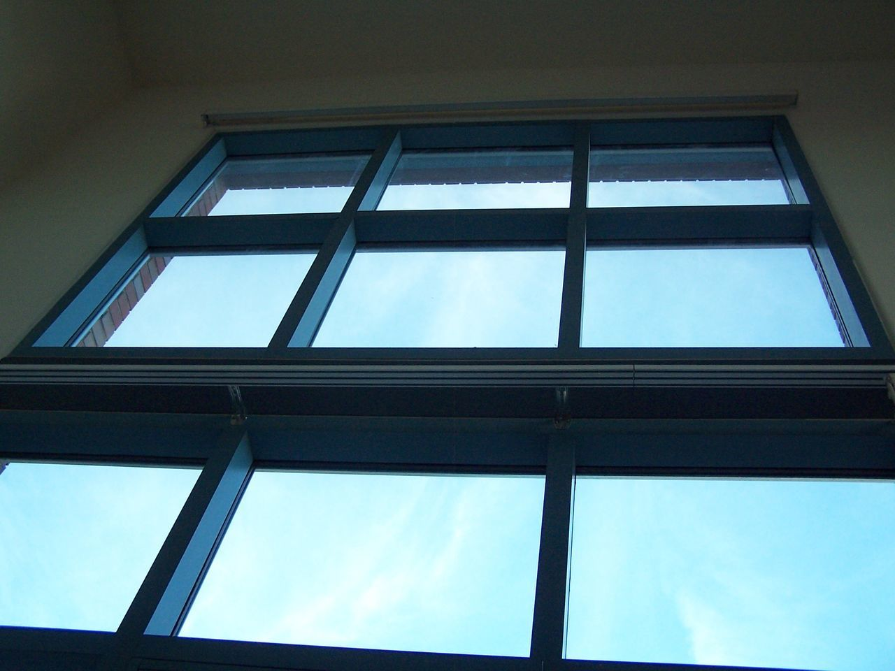 low angle view, window, architecture, built structure, no people, day, indoors, sky
