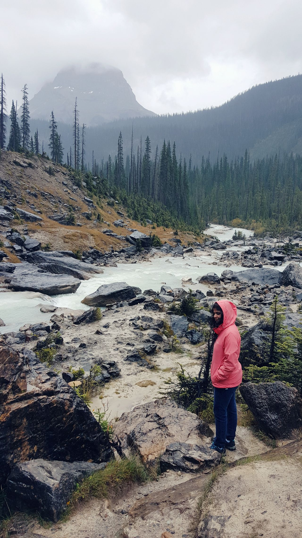 One Person Nature Landscape Full Length Outdoors People Beauty In Nature Mountain Day Rainy Weather Young Female One Woman Hiking Female Female Hiker Active Lifestyle  Stream Raincoat Activewear Tranquility Spring Women And Nature Rain Canadian Rockies