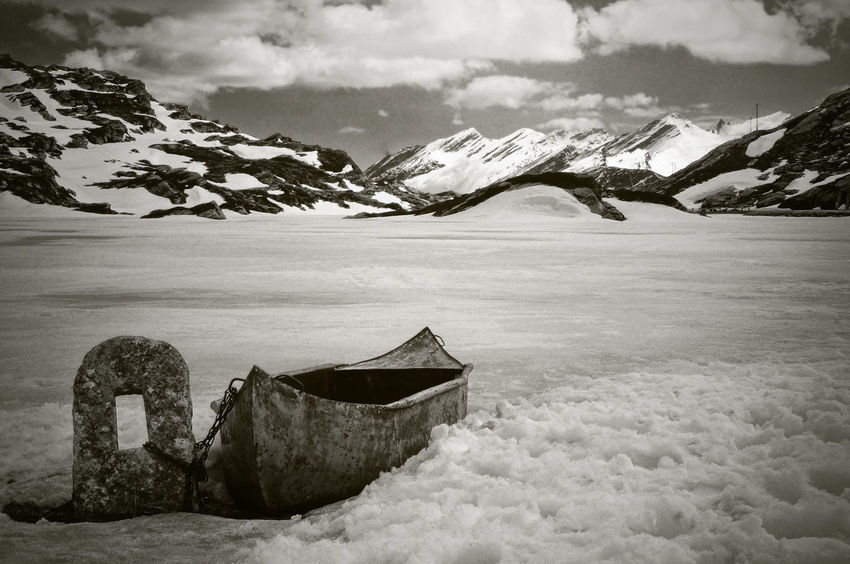 Frozen Lake Ice San Bernardino Beauty In Nature Black And White Boat Cold Temperature Day Landscape Mountain Nature No People Outdoors Scenics Snow Snowcapped Mountain Tranquil Scene Tranquility Winter