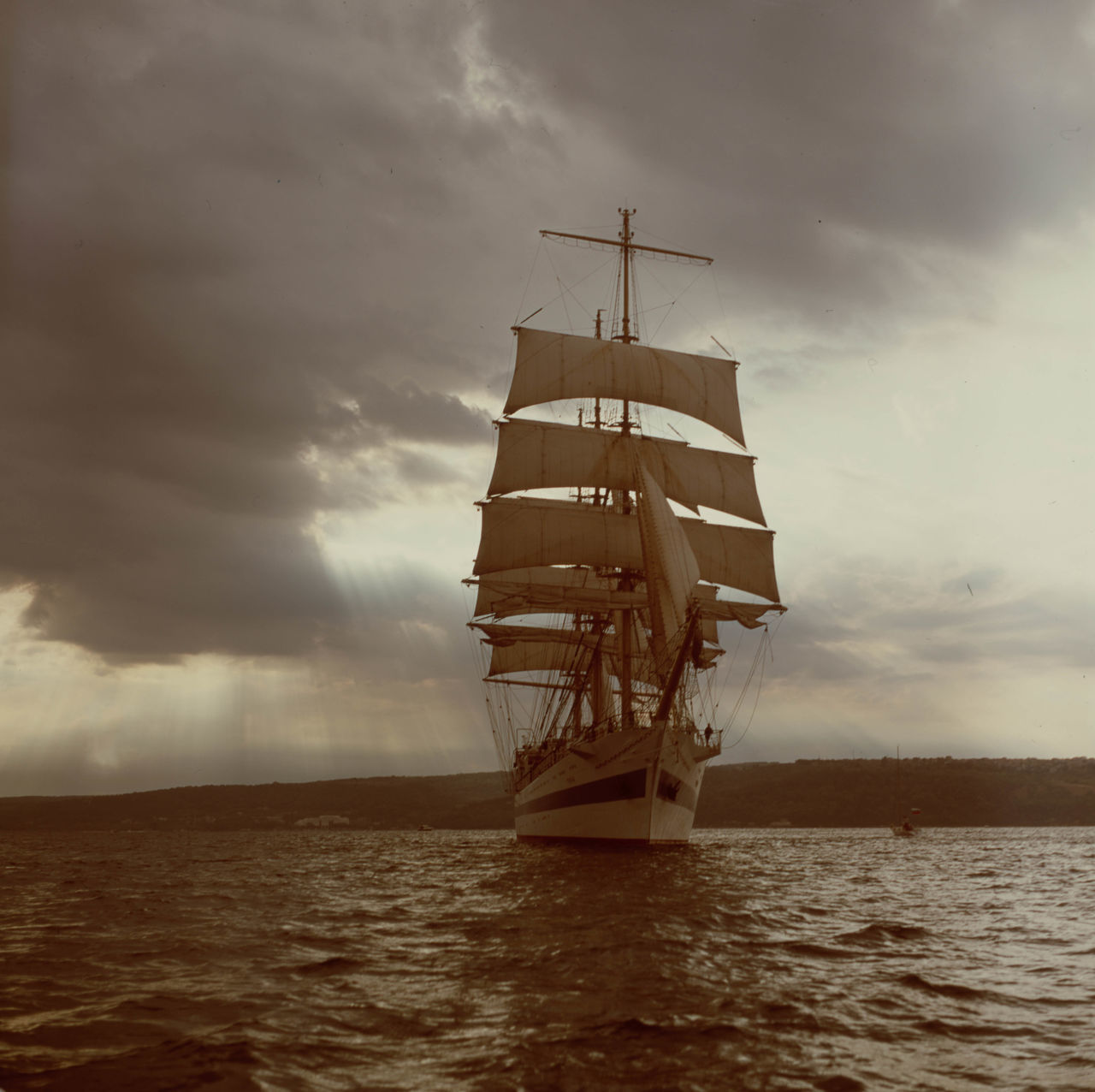 Shot taken with a medium format film camera during the Tall Ships Regatta. The Mir barque has spread its sails proudly, cruising in the evening sea. Boat Ride Bułgaria Cloud - Sky Cruise Ship Film Photography Frigate Nature No People Regatta Romantic Russian Sailboat Sailing Ship Sea Sea And Sky Sea Life Seascape Seaside Ship Tall Ship Varna Vintage Photo Water Waves Yacht First Eyeem Photo