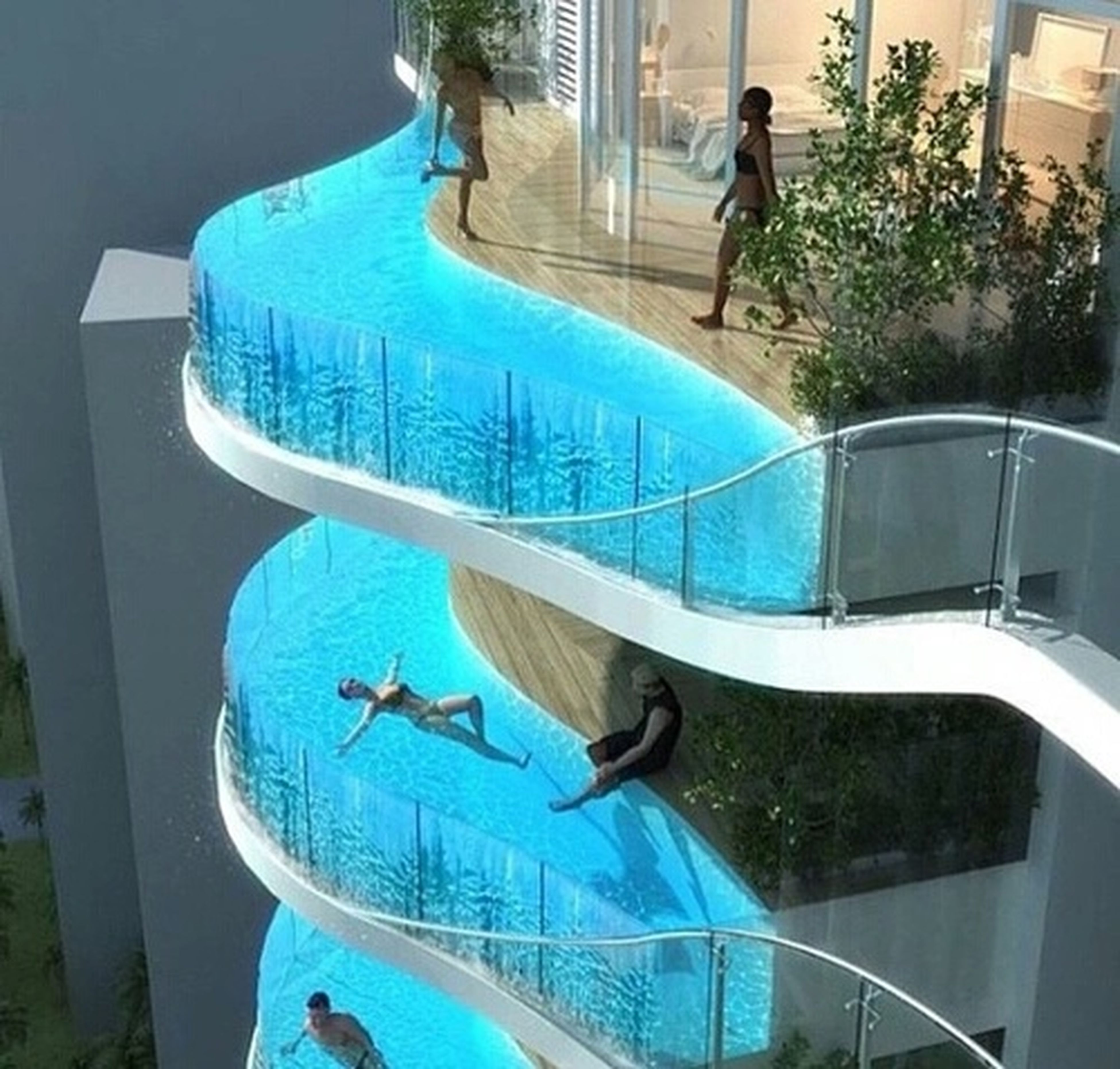 water, swimming pool, blue, animal themes, one animal, sunlight, sitting, high angle view, relaxation, day, built structure, reflection, architecture, nautical vessel, glass - material, chair, tree, full length