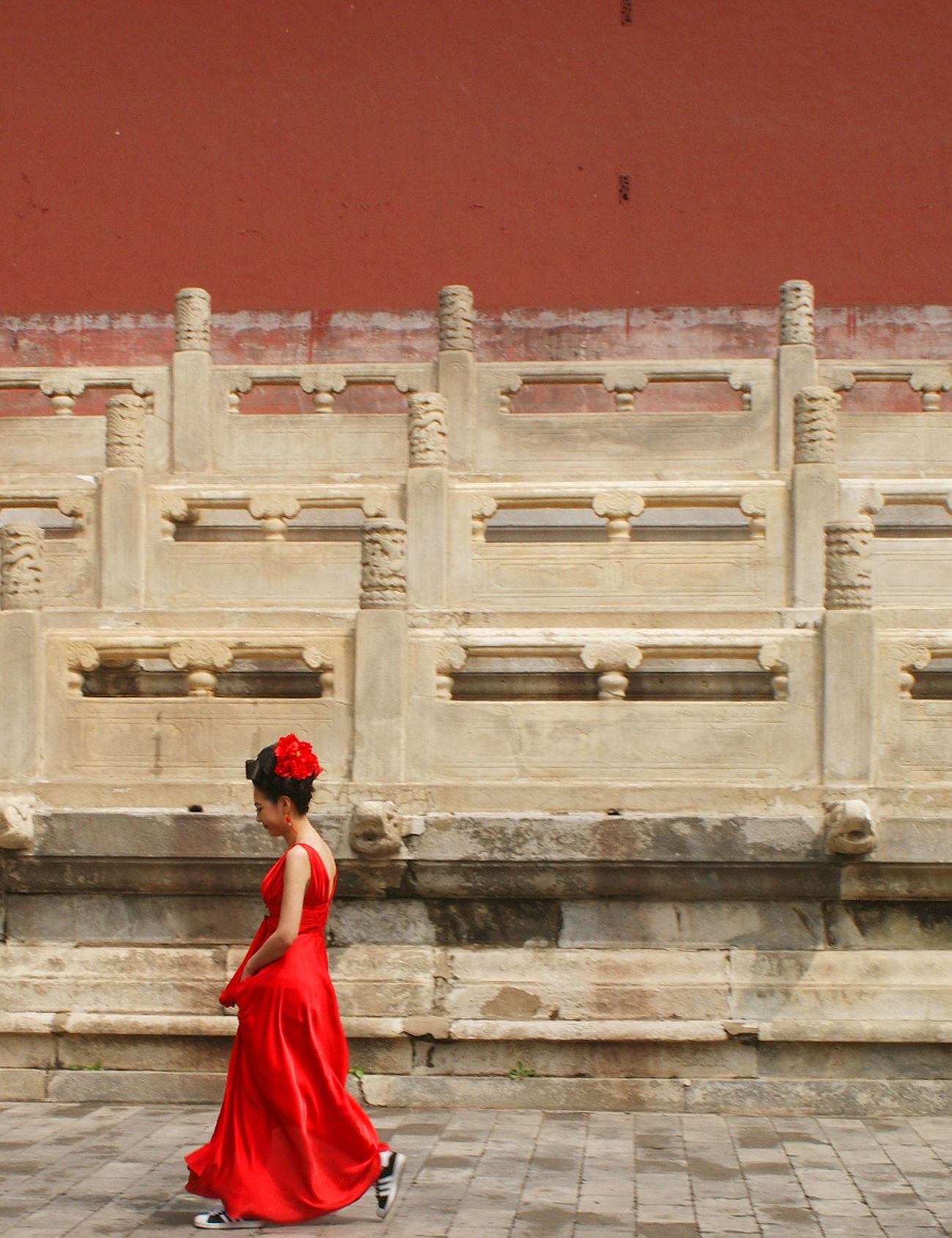 Red Architecture Building Exterior One Person Real People Red Tourism Traditional Clothing Women