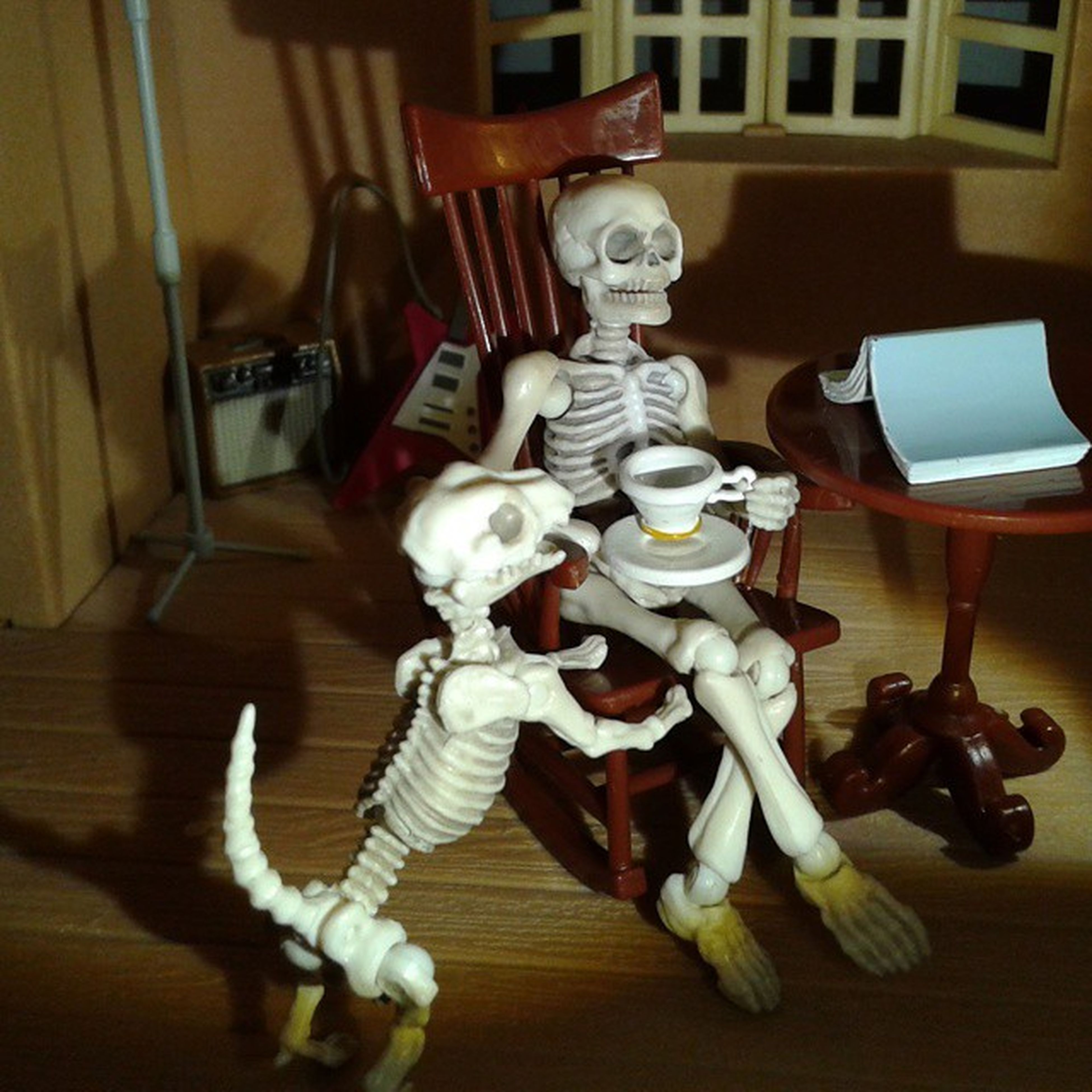 Gary, the Rement Poseskeleton , relaxing at home with a nice Cuppa , a good book, and his trusty Dog . ********** Toy Toys Toygroup_alliance Toyphotogallery Toyphotography Toyartistry Toyplanet Toys4life Toycrewbuddies Toyslagram Actionfigure Japan Nippon Skeleton Tea TheGoodAfterlife . Toyunion