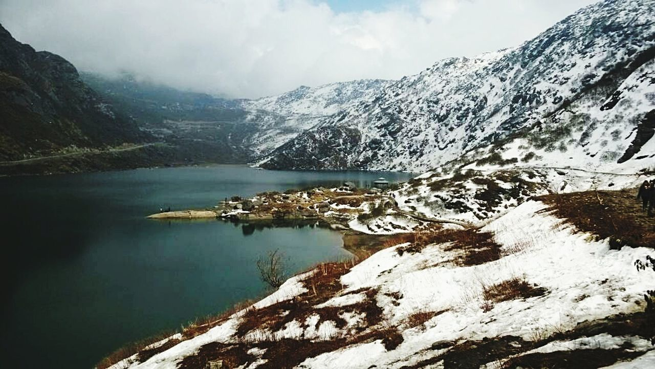 Landscape Lake Fog Mountain Scenics Snow Beauty In Nature Outdoors Nature Water No People GetbetterwithAlex EyeEm Best Shots Sikkim,india Gangtok, India Galcier Snowcapped Mountain Snow ❄ Mountains