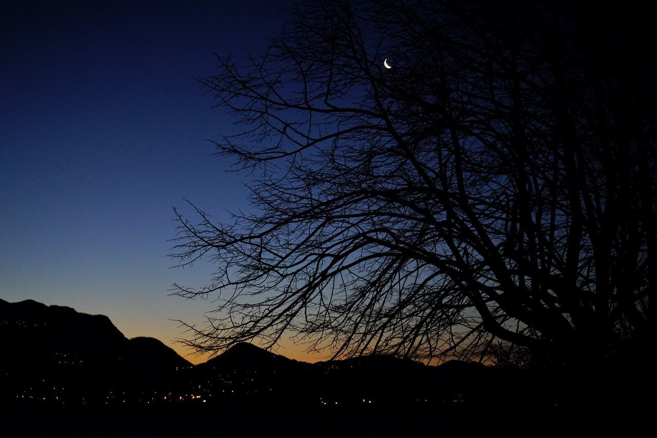 Silhouette Sky Tree Night No People Outdoors Moon Skylike Full Frame Lucariva Sony α♡Love Sony A7RII Sony A7rm2 Sel2870oss Mountain Range Sky_collection Sonyimages Sunrise Reflection Sunrise Colors Moonlovers Littlemoon Spicchio Di Luna Moonset Moon_collection