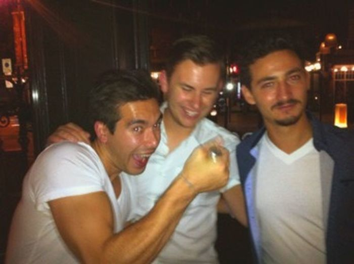 I don't refer this happening but it was a good night. Look at those sweaty foreheads! Hanging Out Chaps Drinking