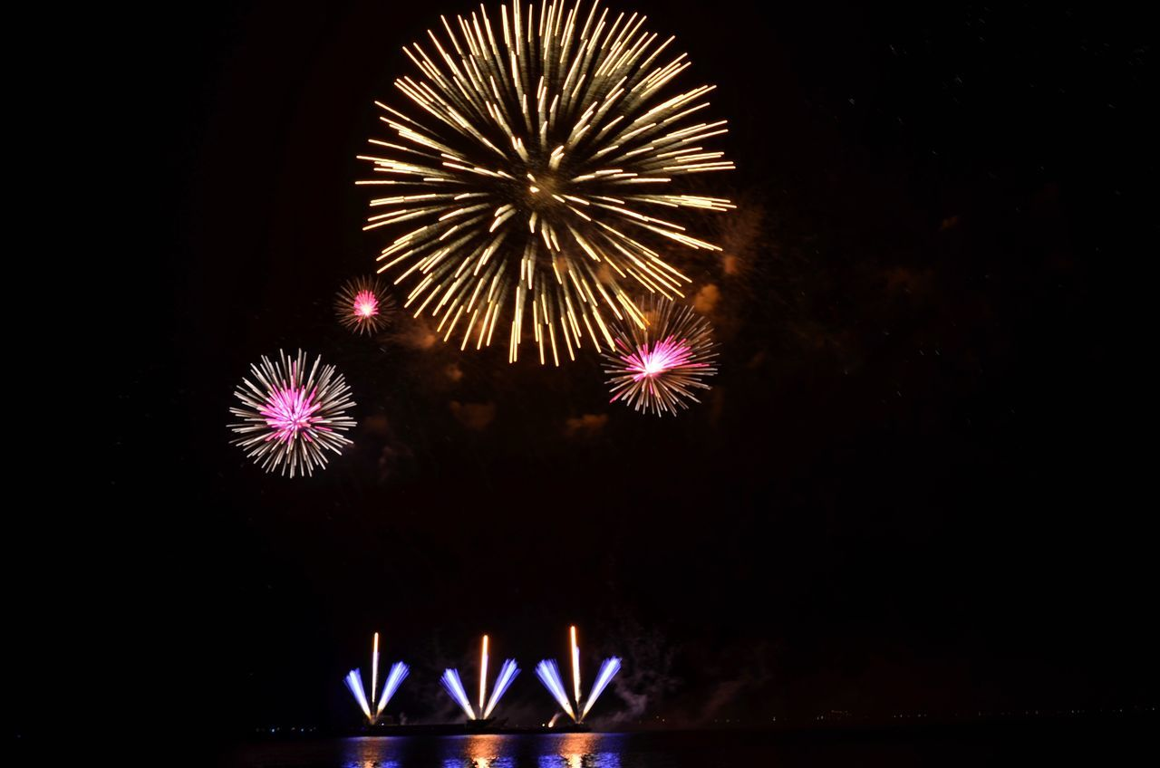 Flower like Celebration Firework Display Night Exploding Long Exposure Sparks Arts Culture And Entertainment Motion Multi Colored Event Blurred Motion No People Dark Entertainment Low Angle View Outdoors Firework Illuminated Sky