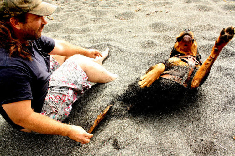 my dog Roscotherottweiler and I at the ocean Westport, California