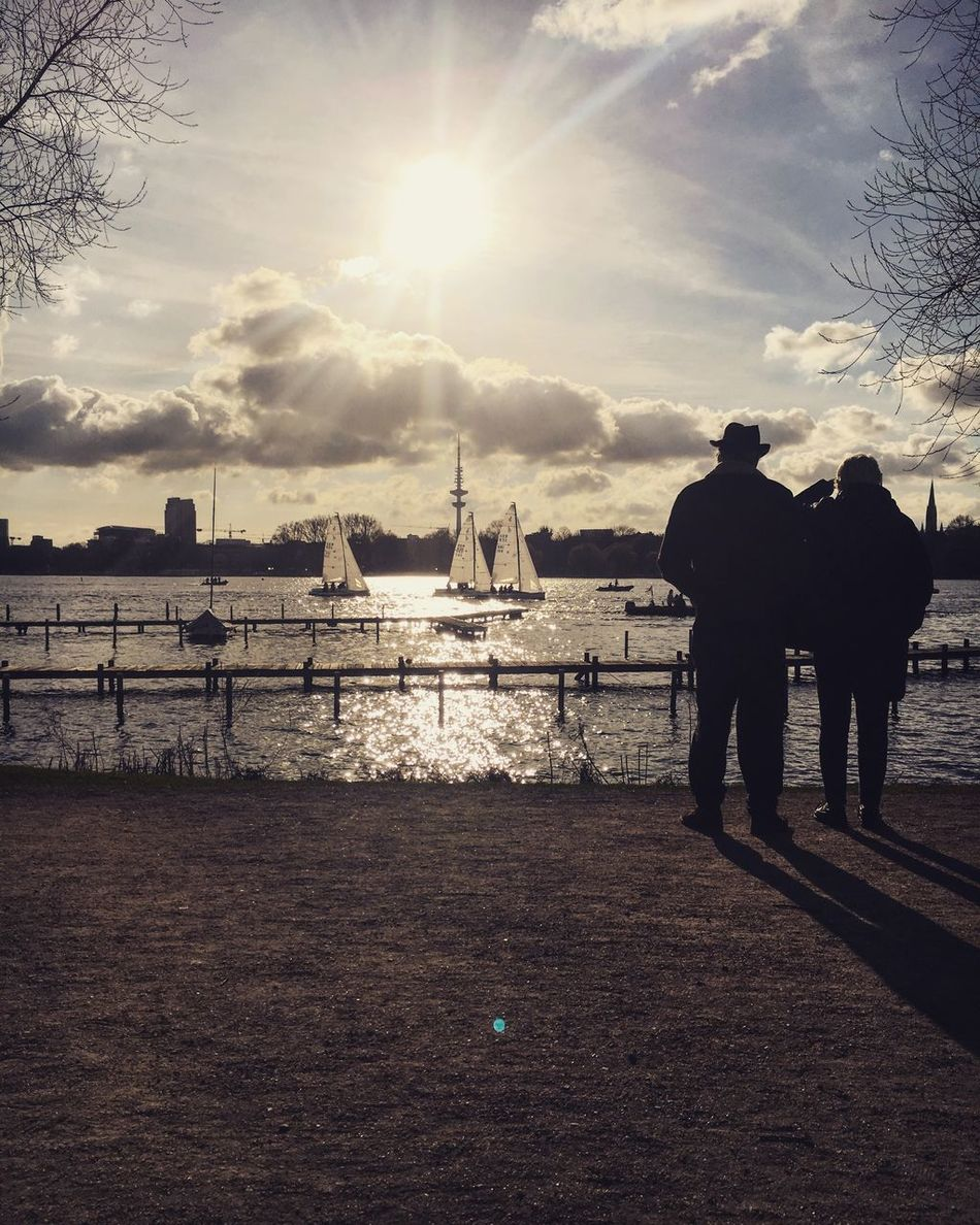 Sunlight Water Elbe River Couple Photography Couple