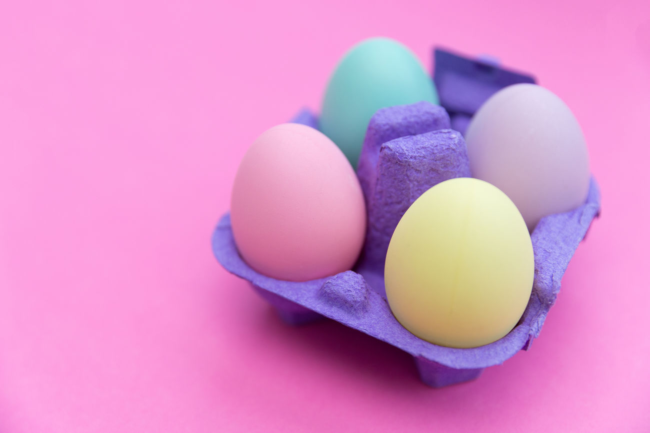 Easter eggs Bright Carton Colored Background Colorful Colors Cute Easter Easter Egg Easter Eggs Food Overhead View Pink Studio Shot Tray