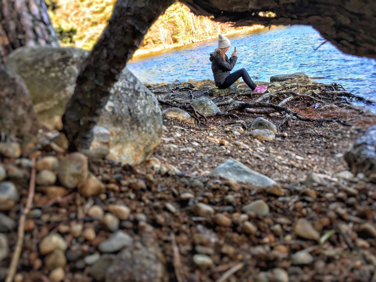 real people, rock - object, one person, day, lifestyles, outdoors, tree, nature, childhood, men, water, people