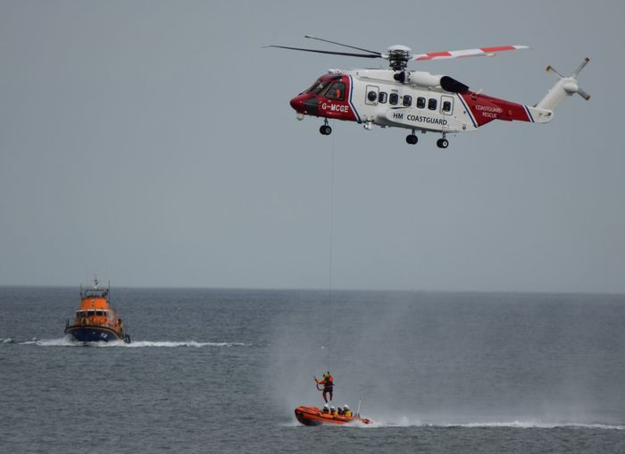 RNLI Open Day, August 2017. Withernsea lifeboat, Humber Lifeboat, RNLI Coastguard Rescue Helicopter Lifeboat RNLI Accidents And Disasters Boat Coastguard Day Flying Lifeboat RNLI Outdoors People Red Rescue Sea Teamwork Transportation Water Winchman