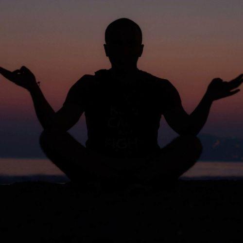 Meditation Zen Silhouette Sunset Sky Men One Person Nature Outdoors