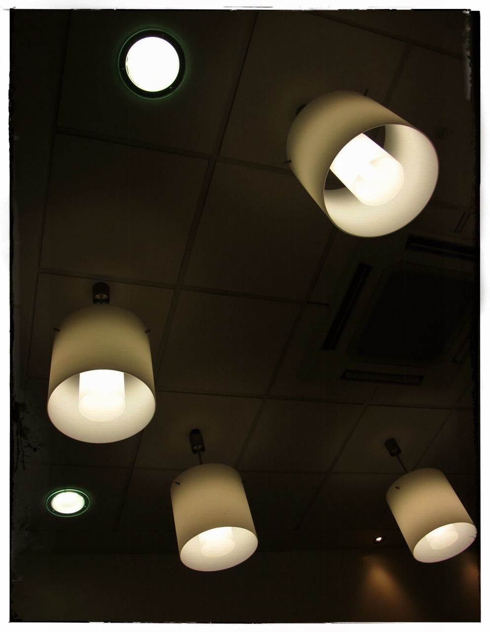 illuminated, ceiling, lighting equipment, indoors, hanging, low angle view, no people, electricity, light bulb