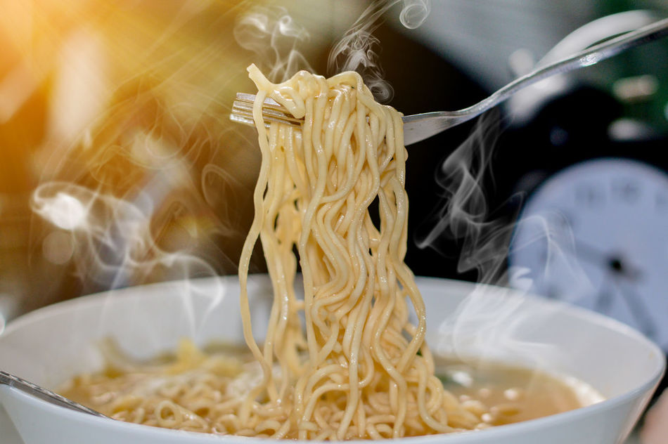 Hot noodle and smoke and sunlight Bowl Close-up Food Food And Drink Freshness Healthy Eating Indoors  Italian Food No People Noodles Pasta Preparation  Preparing Food Ready-to-eat Spaghetti Table