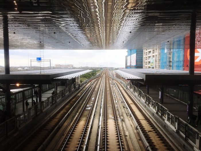 Transportation Railroad Track Railroad Station Platform Architecture Railroad Station Built Structure Day No People Indoors  Sky