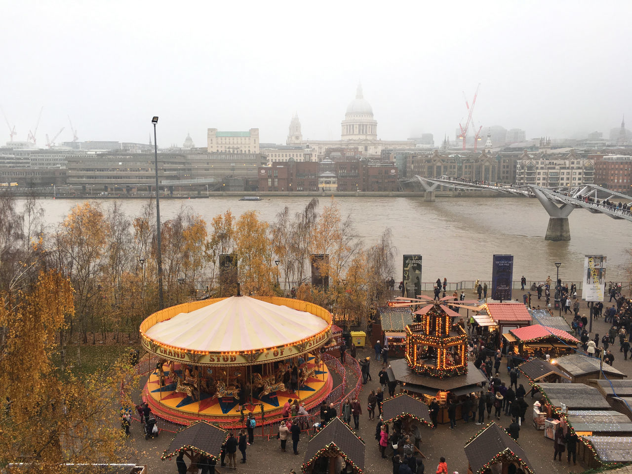 City Merry-go-round Outdoors River River Thames River Thames Skyline Sky St Paul's Cathedral Water
