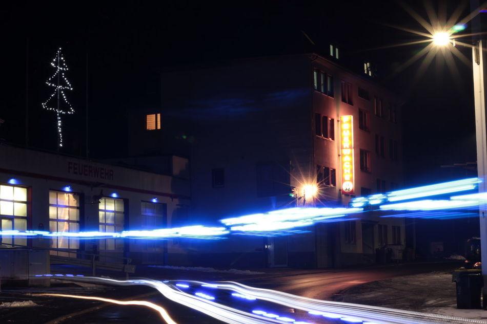 Night Illuminated Motion City Outdoors Road No People Nightlife Clock Architecture Midnight Rettungsdienst Feuerwehr Altena Feuerwache
