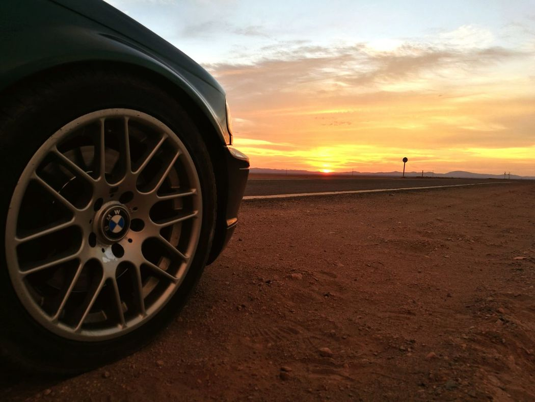 Bmw I ♥ It Bmw BMW!!! Sunset Wheel Tire Car Road Dramatic Sky Nature Outdoors No People Cloud - Sky Sky Desert Desert Landscape Desert Road Desert Adventure Chile♥ Iquique Let's Go. Together.