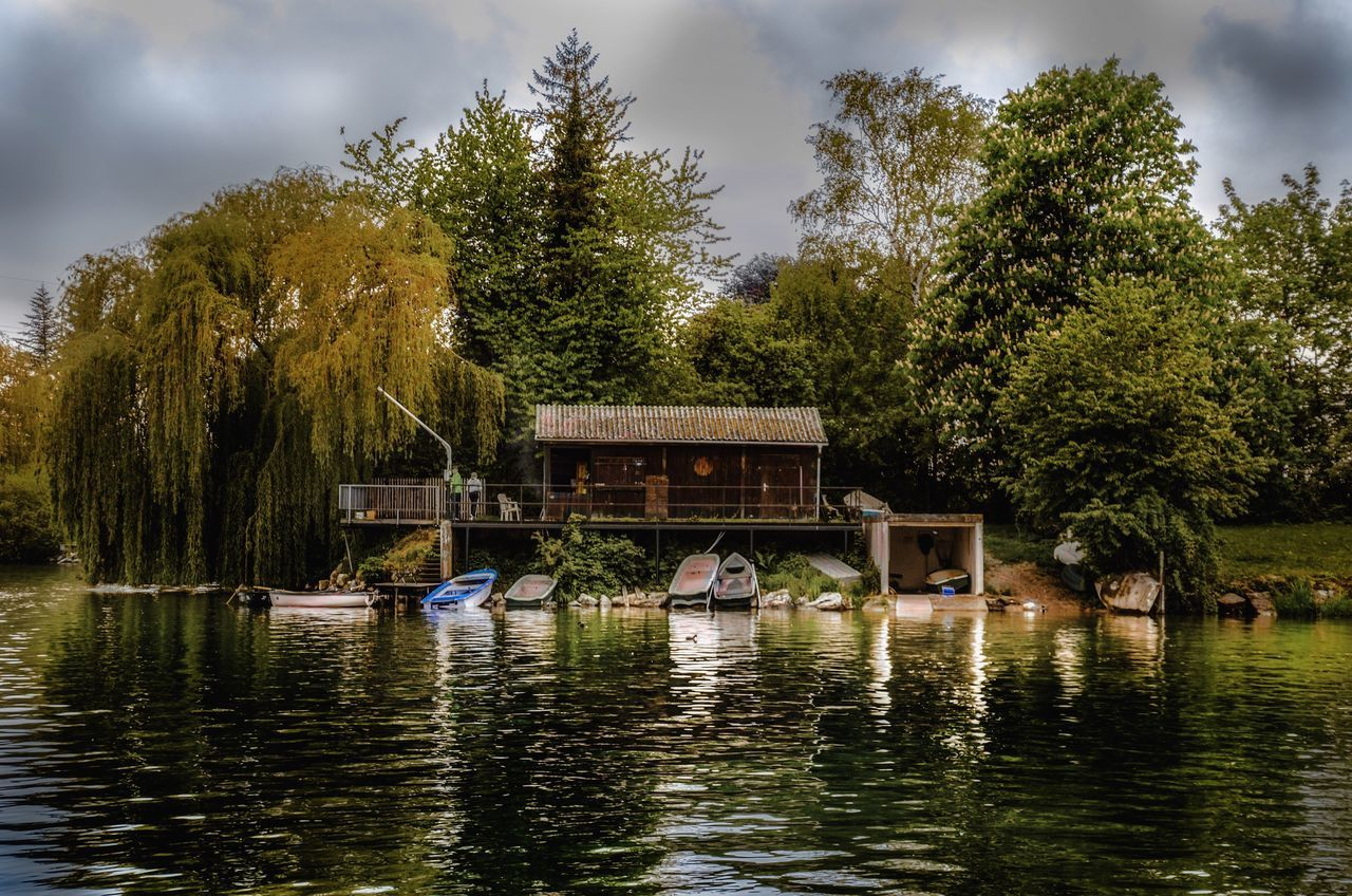 BoatHouse Tree Water Nautical Vessel Transportation Lake Nature Waterfront Day Mode Of Transport Outdoors Houseboat Sky Beauty In Nature No People Friedberger See