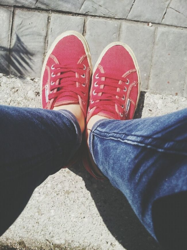 Sun! I ❤ SuperGa Red Shoes Jeans