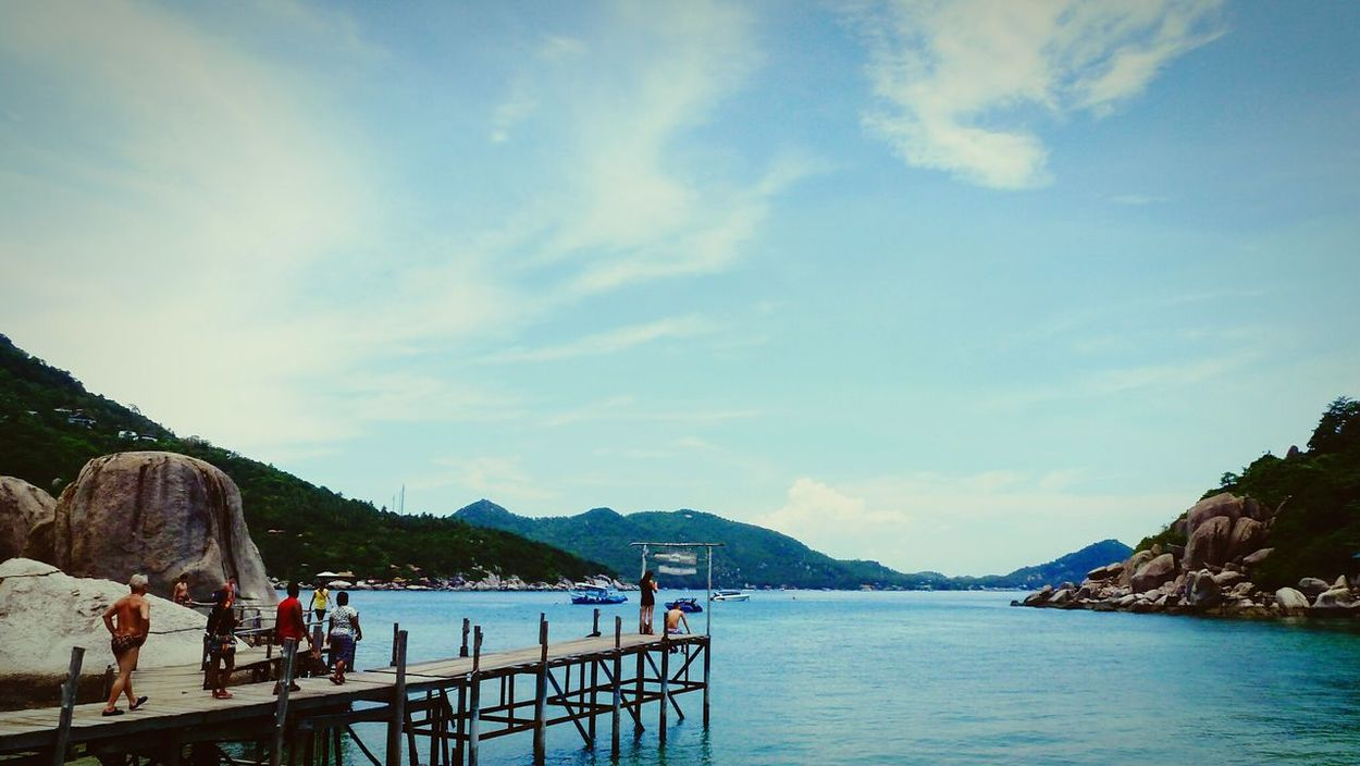 Landscapes With WhiteWall Boat Dock Sea Ocean Island Nangyuan Samui_thailand Tropical Climate Travel Photography