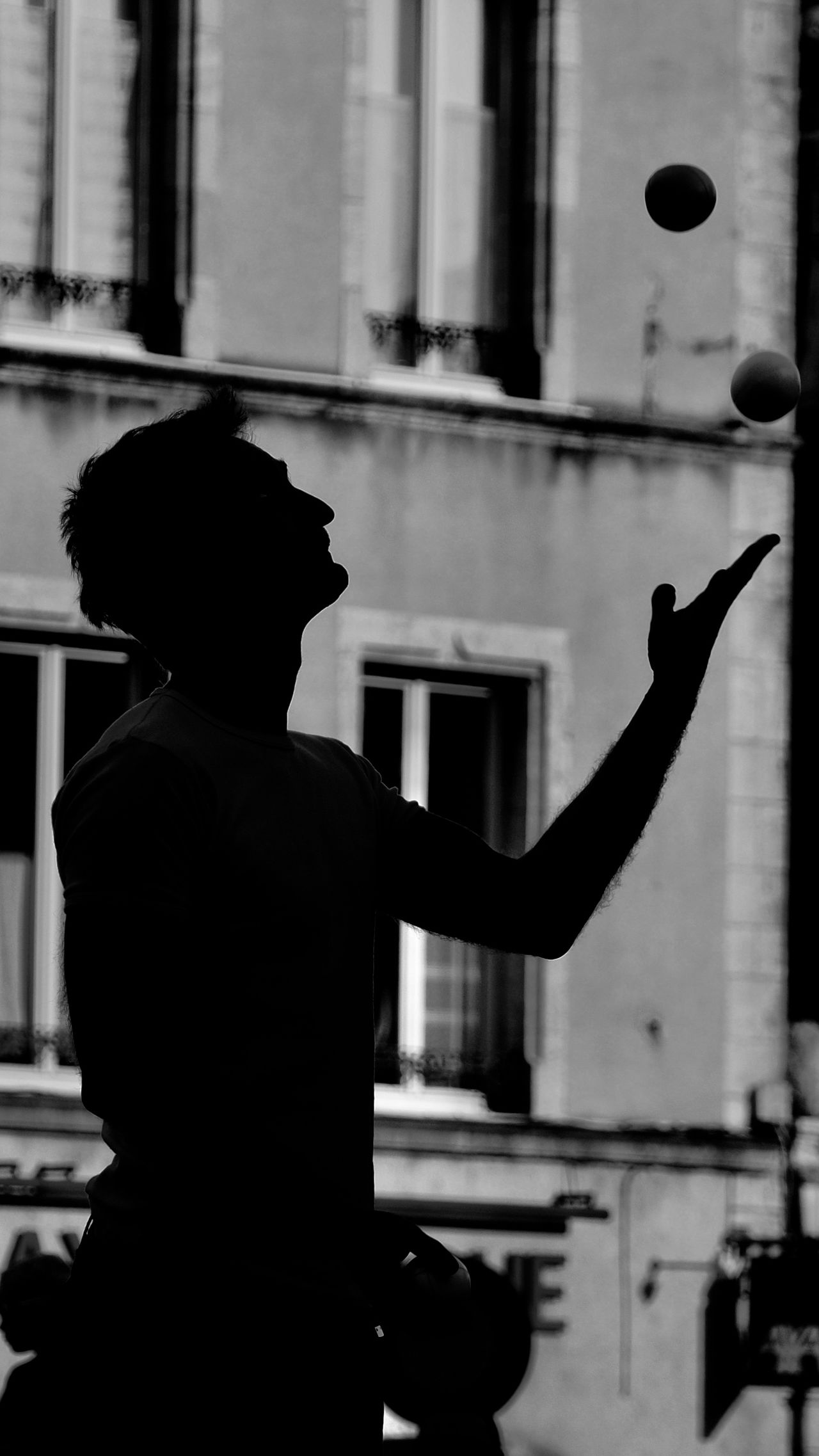 Black And White Photography Blackandwhite Circus Close-up Contrast Focus On Foreground Juggler Juggling Men One Person Real People Silhouette Standing