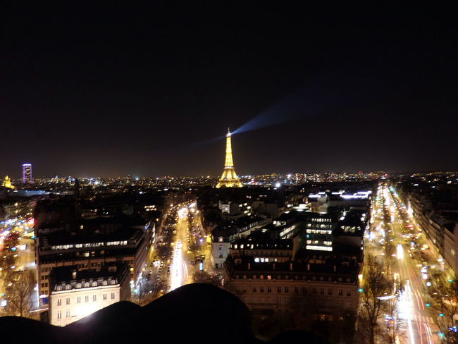 Paris France Tour Eiffel Eiffeltower Eiffel Tower Night Nightphotography from Arc De Triomphe Top Light Urban Landscape Urbanphotography Night View Night Lights