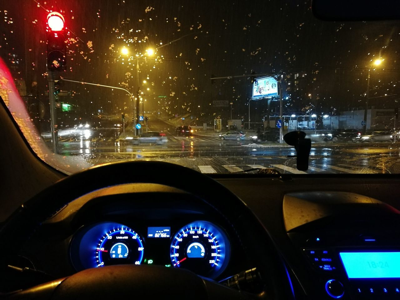 snow Transportation Car Dashboard Car Interior Vehicle Interior Mode Of Transport Illuminated Speedometer Night Windshield Land Vehicle Steering Wheel Control Panel Meter - Instrument Of Measurement No People Gauge Road City Close-up Technology