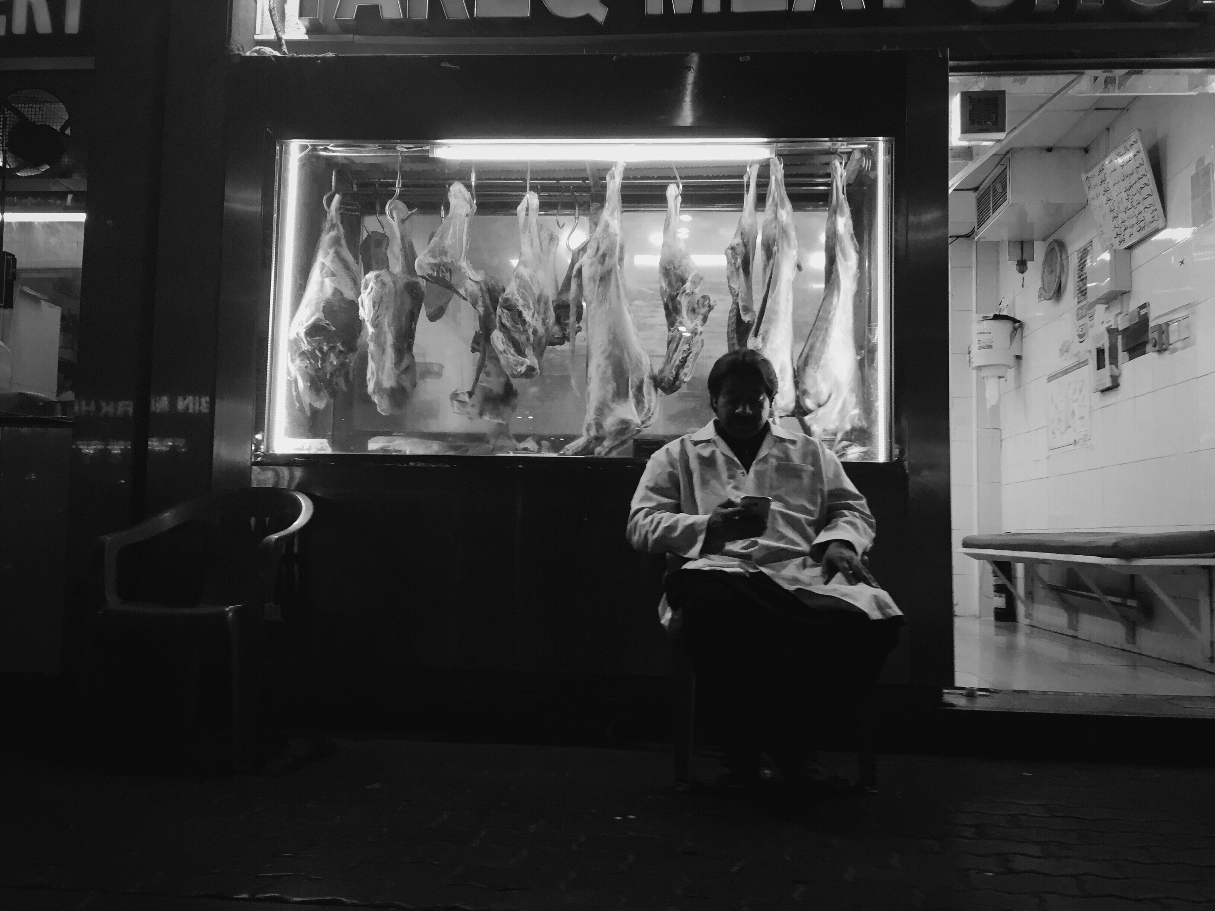 Streetphotography IPhoneography Mobilephotography Meatvendor Taking Photos Blackandwhite
