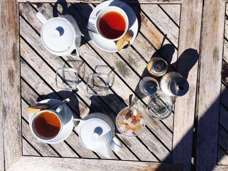 Teatime Tea Tea Time Pattern Cup Sugar Drink Tea Cup Tea - Hot Drink Table Wood - Material Teapot No People Directly Above Outdoors Tea Is Healthy Pepper Shadow Shadows & Lights