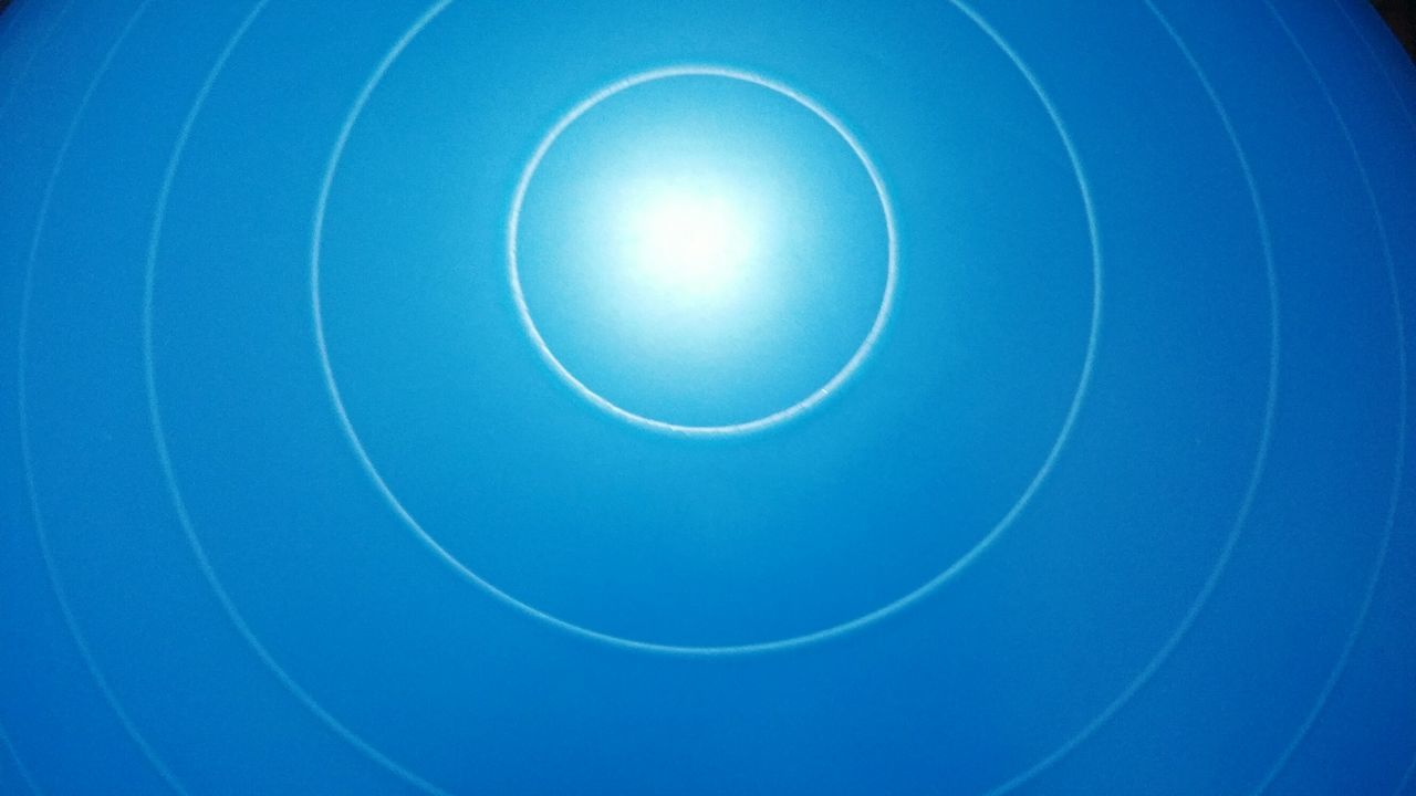 circle, blue, low angle view, no people, full frame, backgrounds, clear sky, close-up, day, indoors