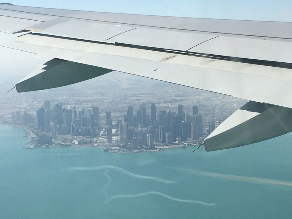 Under the wing... Aerial View Aviation Cityscape Doha Modern Reaching Up Sea Under The Wing Urban Skyline